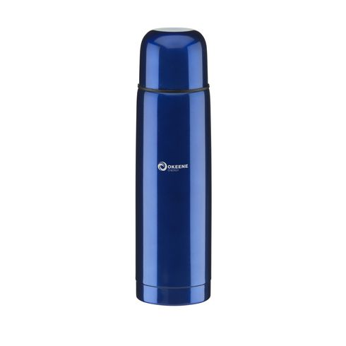 RVS thermosfles met druksluiting 500 ml blauw